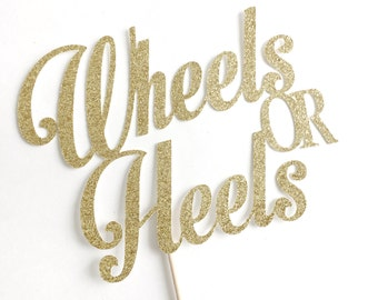 Wheels or Heels Cake Topper, Gender Reveal, Baby Shower, Boy or Girl, He or She, party decoration, decor, pink and blue themed, gold glitter
