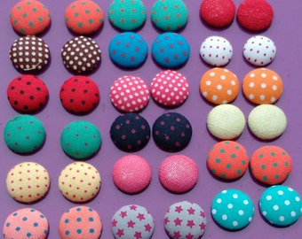 10x fabric cabochons buttons flatback mixed beads Round 15-18mm jewellery making earrings glue on Embellishments scrapbooking UK