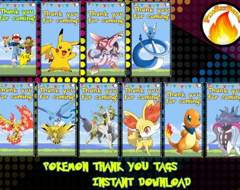 INSTANT DOWNLOAD-Pokemon Inspired-Pokemon Thank you tags - Pokemony Supplies- Pokemon Birthday- Pokemon stickers