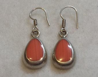 Red Carnelian or Red Coral Custom Earrings in 925 Silver setting