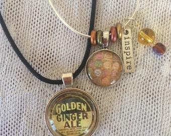 Retro Soda Cap Cabochon Necklace and Bracelet Set