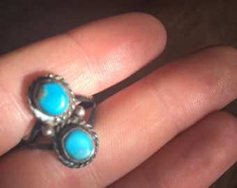 Two Stone Vintage Turquoise Ring