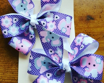 Elephant print pinwheel bows