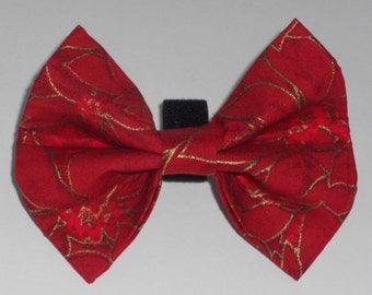 Christmas Dog Bow Tie, Red/Gold Dog Bow Tie, Holiday Dog Bow Tie