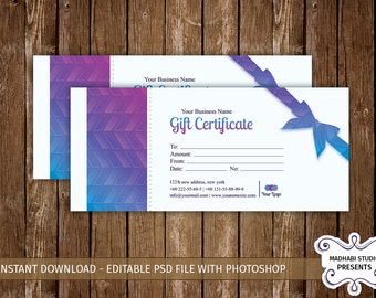 Christmas, Holiday Gift Certificate Template | Multipurpose Gift Voucher | Photoshop & Elements Template | Instant download