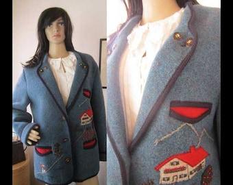 Vintage Walken jacket Loden jacket jacket wool Arber Germany Trachten jacket Landhaus wool jacket M/L