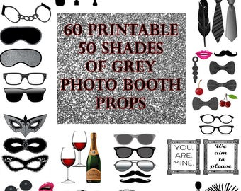 50 Shades of Grey Photo Booth Props Set Glitter Printable Instant Download party favor game bdsm erotic bachelorette adult photo props sexy