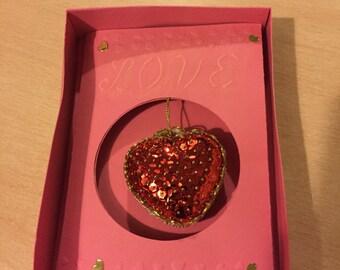 Valentine sequin heart card