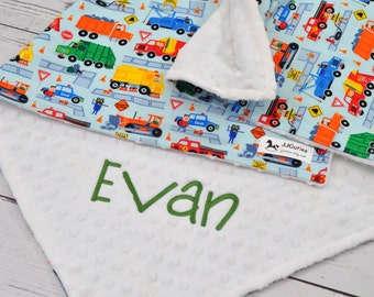 Birth Announcement baby blanket-Personalized cars trucks baby minky blanket-police car minky baby blanket-fire engine baby blanket-cars