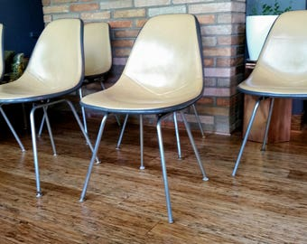 6 Herman Miller Eames Padded DAX Shell Chairs Mid Century