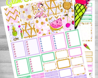 Summer stickers, Printable planner stickers, flamingo, use with Erin Condren, ice cream, Summer kit, Pineapple stickers, summer fruit kit