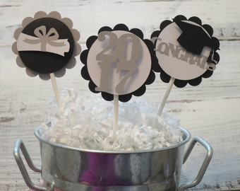 Graduation Cupcake Toppers, FREE US SHIPPING, Cupcake Toppers, Class of 2017, Cupcake Toppers, Set of 12
