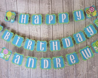 Candy Birthday Banner, FREE US SHIPPING, Candyland Party, Candy Theme Party, Sweet Shoppe Party, Candy Buffet Banner, Treats Banner