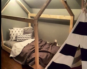 Made in US House Bed Frame Twin Full or Queen