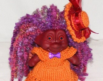 "4.25"" Red Troll Doll, New Hair, Burgundy Eyes, Knit Dress, Panties, Hat Clip"