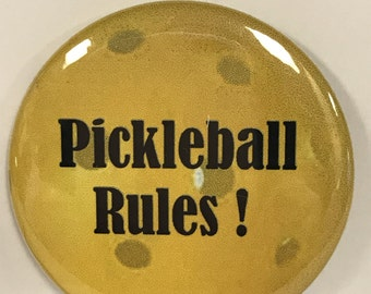 "PICKLEBALL RULES - 2.25"" Button -  Magnet - or Mirror - Gym bags, caps, jackets, gifts"