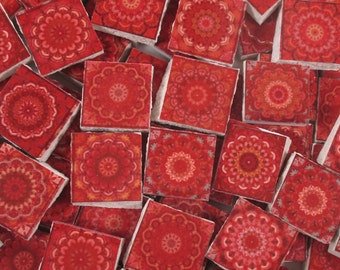 Ceramic Mosaic Tiles - Moroccan Tile Design Red Moroccan Medallions Mosaic Tile 60 Pieces - For Mosaic Art / Mixed Media Art/Jewelry