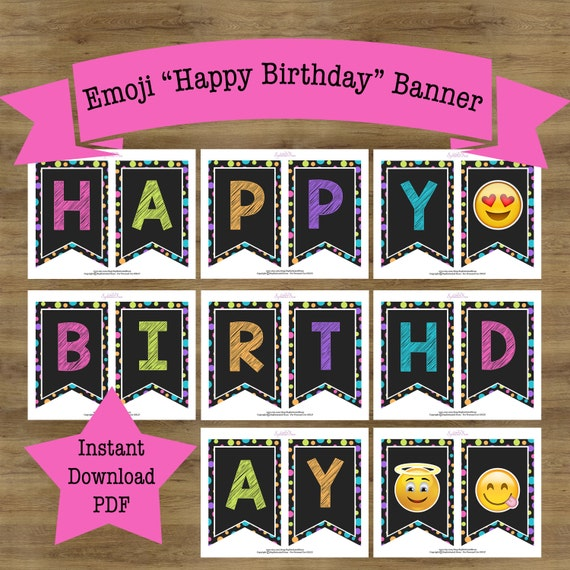 Cute Emoji Printable Birthday Banner