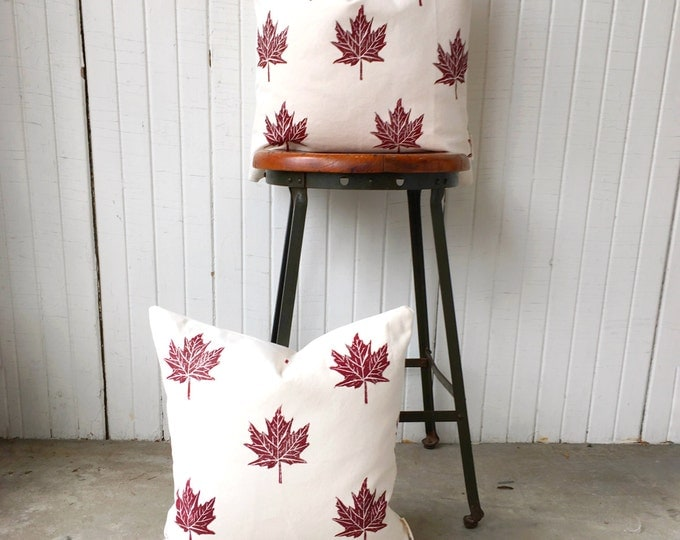 Organic canvas pillow cover set - maple leaves in antique red or customize your colour for no extra charge