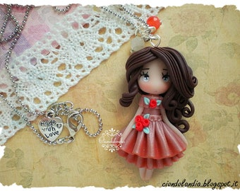 Polymer clay princess doll necklace