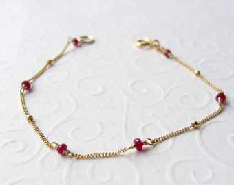 Red Ruby bracelet, dainty Ruby necklaces, goldfilled, undyed stones, satellite chain