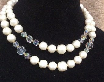 50's Aurora Borealis and Faux Pearl Necklace Choker Multistrand