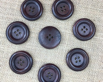 Dark Wood Buttons, 2.5cm Buttons, 1in Buttons, 25mm Buttons, 10 Buttons, Sewing Button, Craft Button