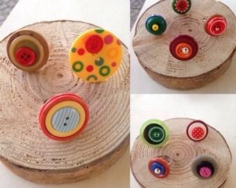 Button rings Olivart////Accessori//women's/woman Crafts/handmade creations//gift ideas//vintage buttons Olivart