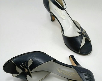 Vintage midnight blue ankle strap shoes