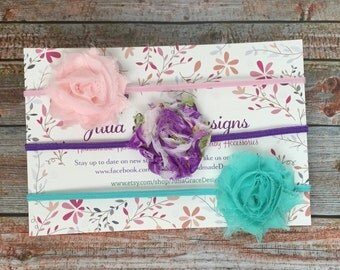 3 MINI Shabby Chic Headbands, MINI Baby Headband, Baby Headband Set, Newborn Headband, Baby Headband, Infant Headband, Baby Girl Headband