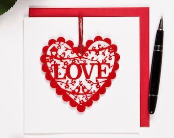 Love Valentine's Card - Keepsake Laser cut felt valentine's card
