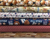 Bundle of 7 Fabrics from the Play Ball Collection by Benartex, Baseball fabric, USA fabric, Ball, Boy Fabric, Teen Fabric, Men's Fabric