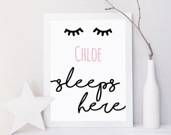 Eyelash print, eyelash nursery decor, sleeps here, girls nursery print, pink nursery decor, eyelash decor, eyelash, nursery door sign