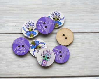 Wooden Buttons Lavender and Dragonfly - 3 pcs