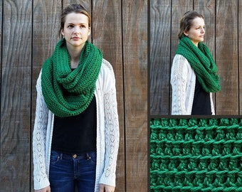 Hand Crocheted Oversized Bulky Chunky 100% Wool Infinity Scarf Kelly Green