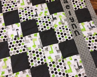 Extra large Personalized minky baby quilt