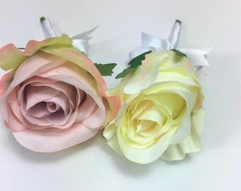 Pink & Cream Wedding Buttonhole Boutonniere  Rose Wedding Bouquet - Artificial Faux Wedding Roses - Wedding Bouquet Set - 1024