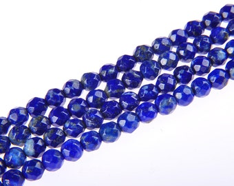 """Faceted Lapis Lazuli Gemstone Round Loose Beads 4mm 15.5"""" Inches per Strand.R-F-LAP-0180"""