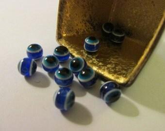 Turkish Blue Evil Eye Beads, 8mm, Set of 10