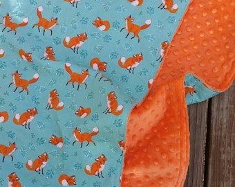 Teal and Orange Wild Fox Woodland Baby Toddler Travel Stroller Minky Blanket