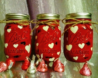 Valentines Day Mason Jar, Painted Mason Jar, Valentine gift, gift for her, valentine wedding, desk organizer, gift for teacher