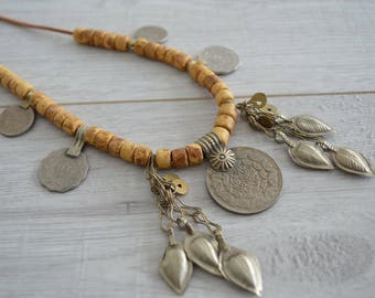 Afghan Kuchi Coin Necklace, Vintage OOAK Ceramic beads Coin Charm Necklace, Afghanistan Kuchi Leather Jewelry, Tribal Coin Tassel Jewelry