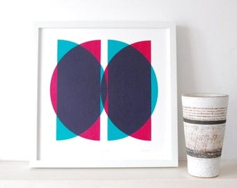 Ships in the Night - An original screen print in turquoise and red, modern, abstract,  limited edition silkscreen print