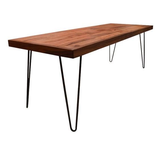 Reclaimed Wood Coffee Table Legs: Reclaimed Wood Coffee Table With Walnut Border// Hairpin Legs