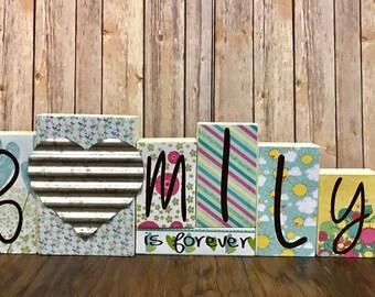 Family Decorative Block Set, Family is Forever, Family, Family Decor, Rustic Decor, Family Block Set, Family Blocks, Custom Blocks, Wood,