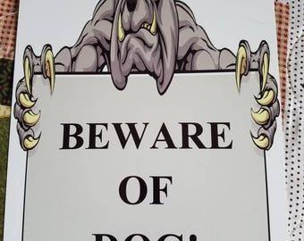 Beware of Dog sign, UV protected, 8x12, metal
