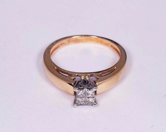 14K Yellow Gold Diamond Ring with 4 Princess Cut Diamonds .50ct. tw., Size 5.25