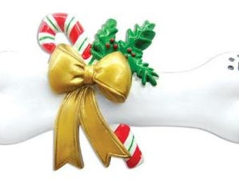 Dog Bone with Holly and Candy Cane Christmas Ornament, Ornament