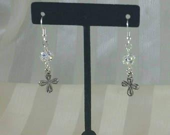 Rinestone cross earrings