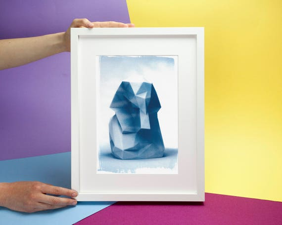 Egyptian Pharaoh Low-Poly Bust, Cyanotype Print on Watercolor Paper, A4 size (Limited Edition)
